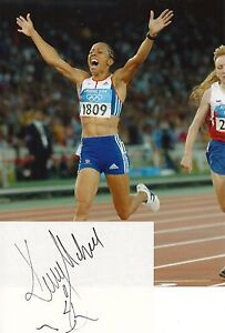 KELLY HOLMES - Signed White Card & Photograph - ATHLETICS