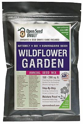 Wildflower Seeds Bulk Annual Seed Mix plus Full Growing Guide by Open Seed Vault Annual Wildflower Seed Mix