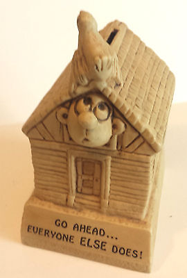 """House Bank Bird Pigeon Poop """"GO AHEAD - EVERYONE ELSE DOES"""" Paula 1976 Vintage"""
