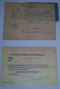 GERMAN-Iron-Cross-2nd-Class-Vets-Honour-Cross-Award-Certs-Named-to-1-man