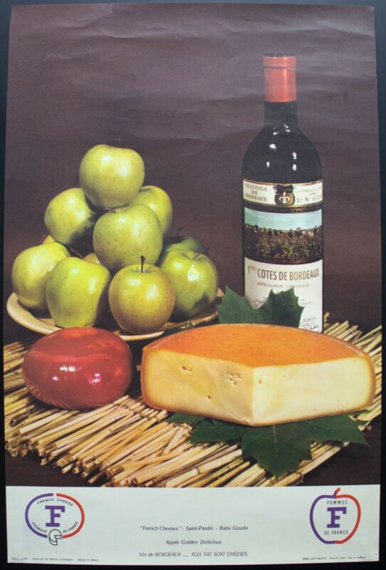 c.1960 French Wine Cheese Advertising Poster Saint Paulin Gouda Bordeaux Vintage
