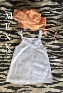Mexx baby white and orange dress with matching hat