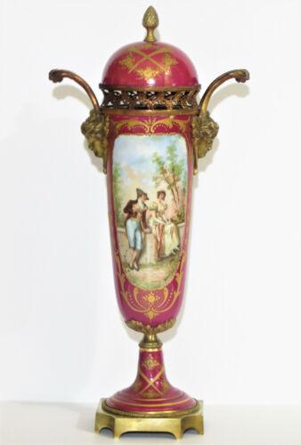 Antique French Sevres Porcelain Gilt Bronze Urn Vase