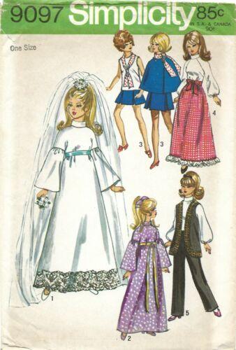 "Simplicity 9097 Wardrobe for 11.5"" Dolls Barbie, Julia, Maddie Mod UNCUT Pattern"