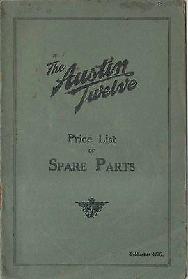 Austin Twelve 12 original Price List of Spare Parts 1930 Pub. 477G UNILLUSTRATED