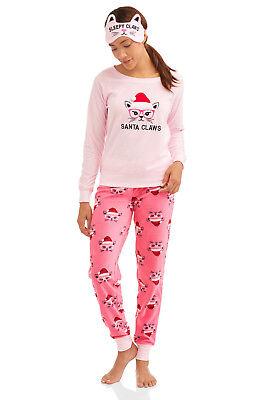 Santa Claws 2 Piece Cat Christmas Fleece Pajamas + Sleep Eye Mask Womens Adult Christmas 2 Piece Santa