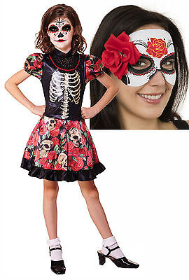 Girls  Mexican Day of the Dead Halloween Corpse Bride Fancy Dress Costume + Mask](Corpse Bride Girls Costume)