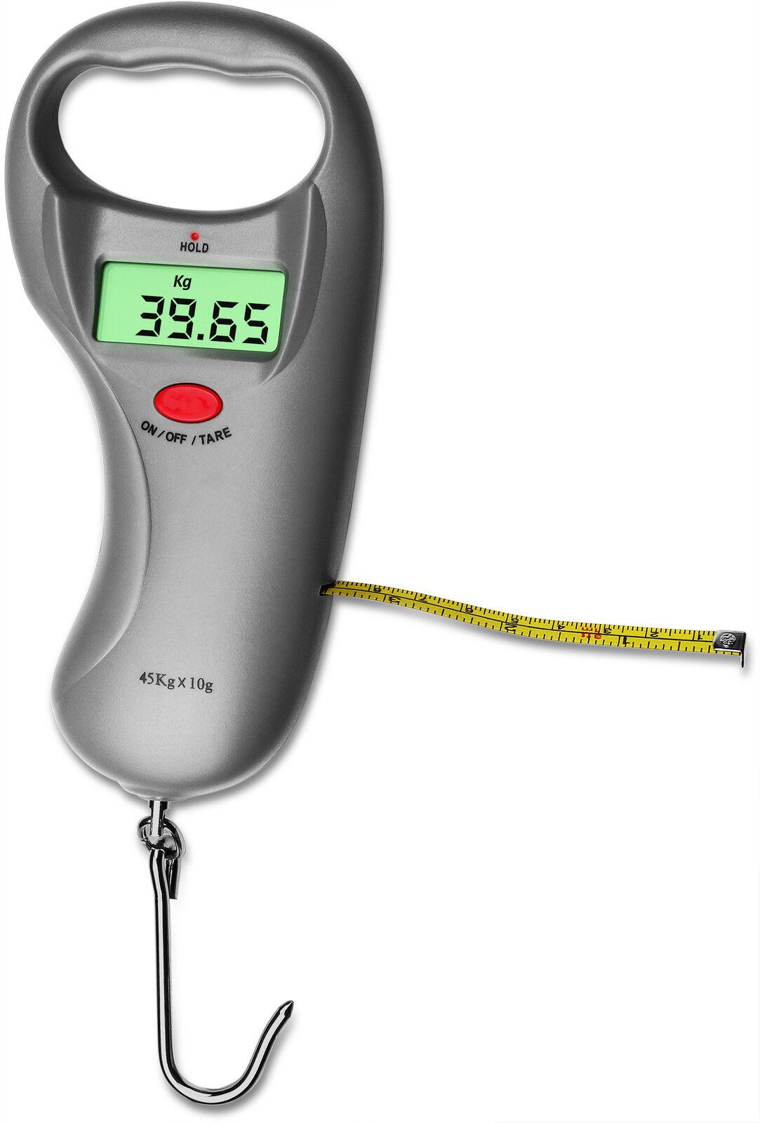 Digitalwaage mit integriertem Maßband für Angler, bis 40 kg, Genauigkeit: 10 g