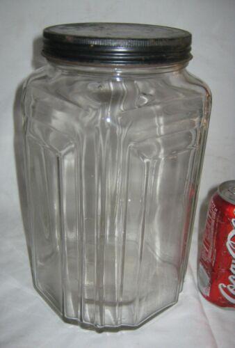 # 2 ANTIQUE USA ART DECO COUNTRY PRIMITIVE HOOSIER NECCO CANDY GLASS JAR BOTTLE