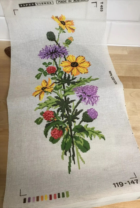 TAPEX VIENNA Floral Needlepoint Canvas Hand Painted Austria Vertical Format NOS
