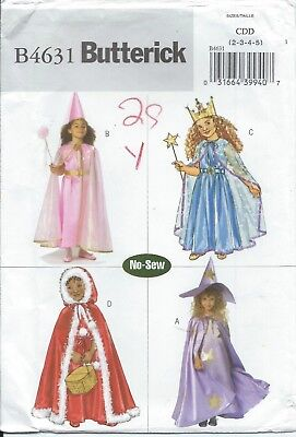 Butterick 4631 HALLOWEEN COSTUME Pattern RED RIDING HOOD, WITCH, PRINCESS ~ - Princess Red Riding Hood Child Costume