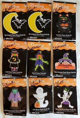 NEW LOT OF 9 HALLOWEEN FOAM CRAFT KITS WITCH BAT CAT MONSTER SKELETON MAKES 56