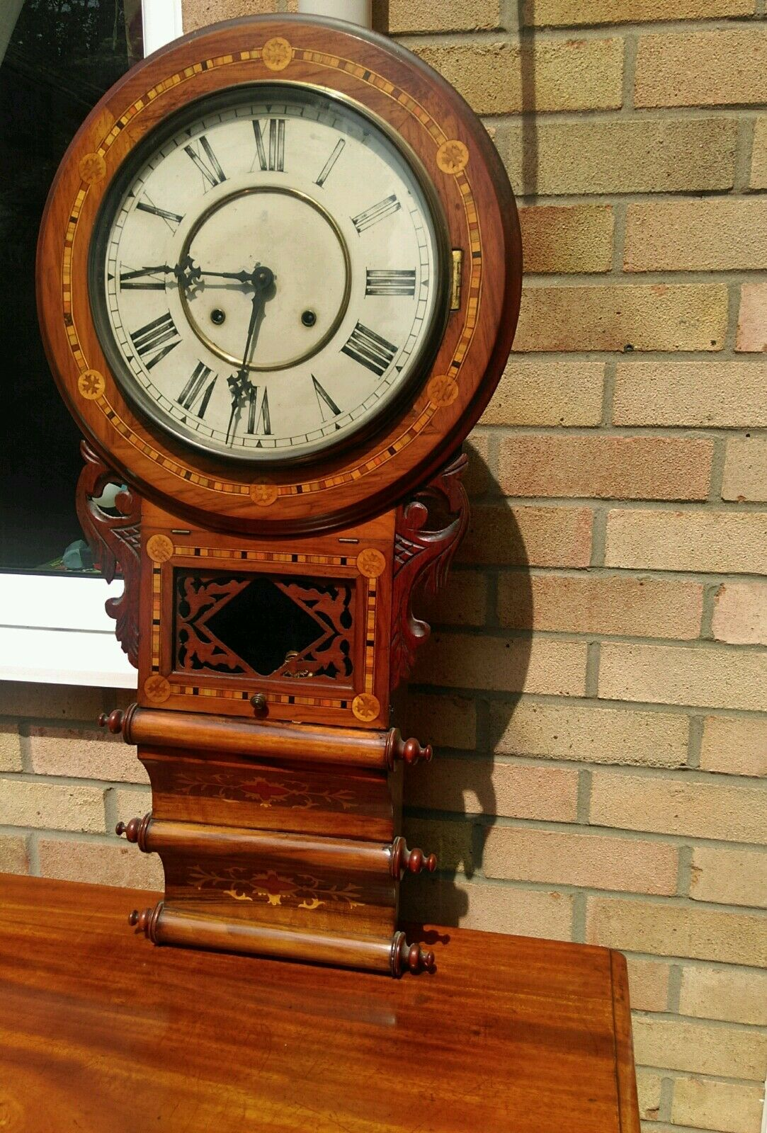 Antique American tunbridgeware inlaid superior 8 day wall clock ornate walnut?