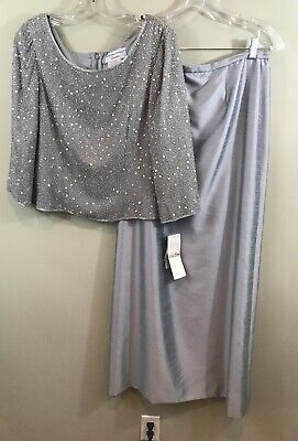 NWT Adrianna Papell Beaded Silk Gray Two-Piece Skirt Top Size12 Mother of Bride  Two Piece Skirt