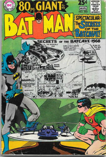 Batman #203 (80 Page Giant) DC 1968,  center spread intact Finger, Sprang, VG+