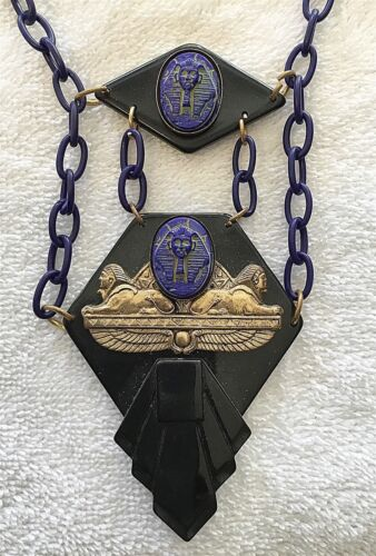 ANTIQUE EGYPTIAN REVIVAL NEIGER GLASS PHARAOH SPHINX CELLULOID ART DECO NECKLACE