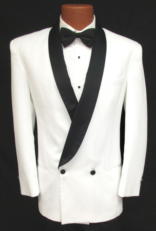 Blue Double Breasted Tuxedo or Dinner Jacket with Jet Black Satin Shawl Lapels