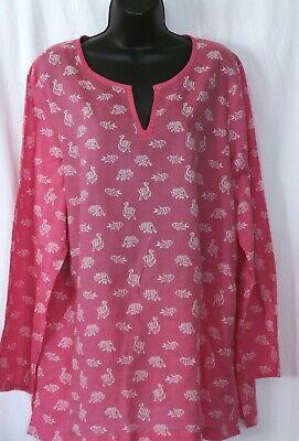 J. JILL Lightweight Pink Cotton Print Split Neck Tunic Side Slits - Sz XL EXC Cotton Split Neck Tunic