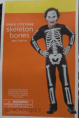 Halloween Boys Child Black with White Skeleton Bones Costume Size Medium 6-8 NWT - Skeleton Boy Costume
