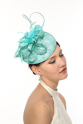 Kentucky Derby Feather  Sinamay w Lace Headband Fascinator Cocktail Turquoise