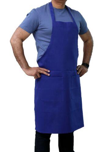 "Best Quality 34"" x 32"" Blue Bib Apron with Pockets - Restaurant Linen Store"