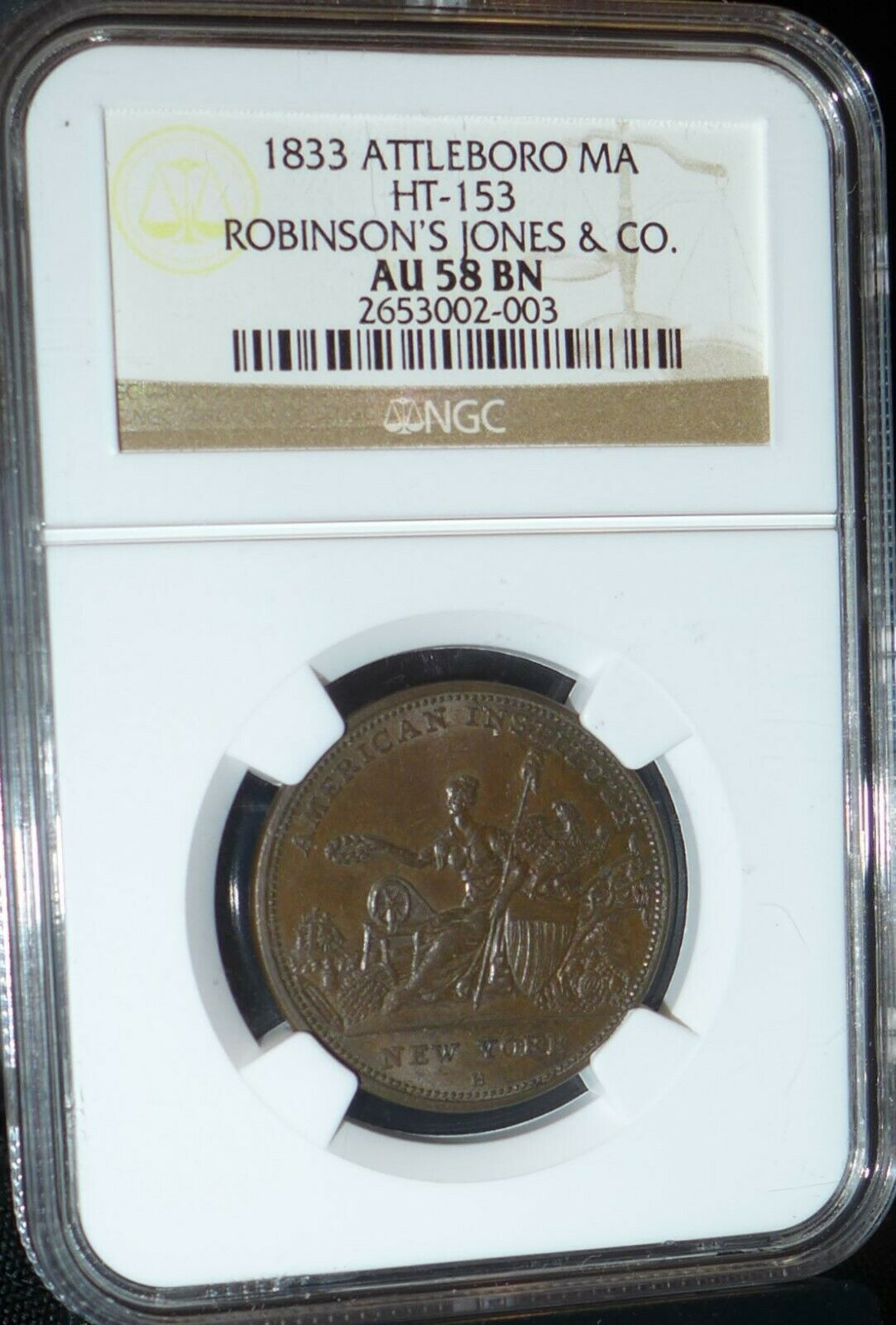 1833 Hard Times Token, Robinson s Jones Co., HT-153, Attleboro MA, AU58 BN NGC - $95.00