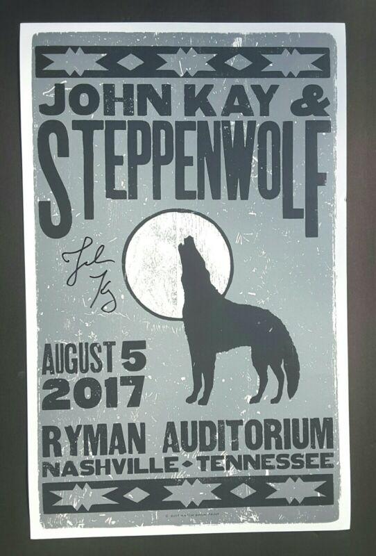 STEPPENWOLF John Kay SIGNED Hatch Show Print Nashville RYMAN 2017 Concert Poster