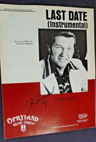 LAST DATE Floyd Cramer  Piano Sheet Music  1960