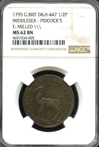 Great Britain 1795 1/2 Penny Middlesex Pidcock Ostrich/Antelope NGC MS-62