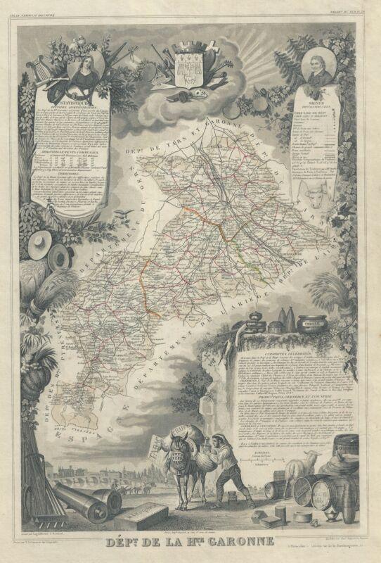1847 Levasseur Map of the Dept. de la Haute Garonne, France
