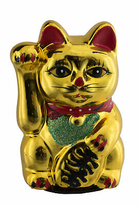 Money Cat Paw Lifting Ceramic Golden Glossy 5 7/8in Maneki Neko 100