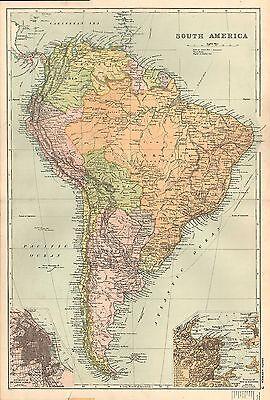 1911 VICTORIAN MAP ~ SOUTH AMERICA ~ BUENOS AIRES ENVIRONS RIO DE JANEIRO BRAZIL