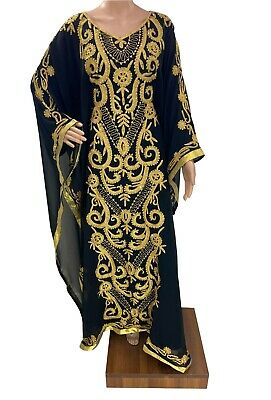MOROCCAN DUBAI BLACK GEORGETTE KAFTANS ABAYA FARASHA VERY FANCY DRESS MS 0485