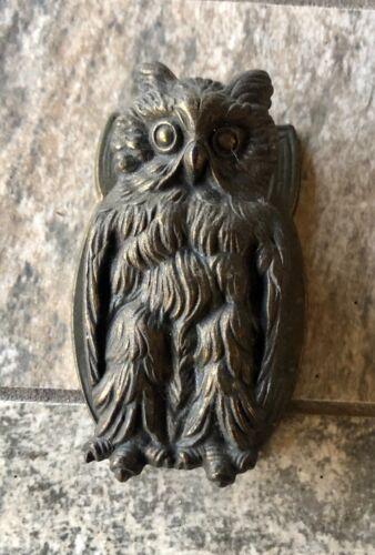 Vintage Cast Iron Owl Figure Door Knocker #633