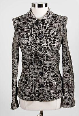 Armani Collezioni Made Italy Black Wool Blend Geometric Button Up Jacket Sz 10