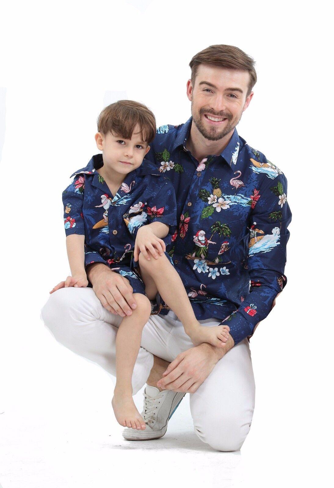 Father Son Matching Holiday Hawaiian Santa Christmas Long...