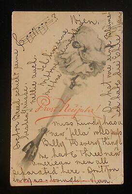 1901 Prost Neujahr! Happy New Year Abbazia Opatija Croatia Wien Austria Vienna C