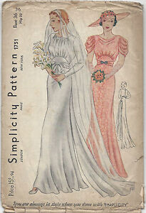 1939 Vintage Sewing Pattern B36 WEDDING & BRIDEMAID DRESS (R851)