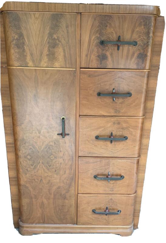 "Vintage Art Deco Armoire Chifferobe Wardrobe Mahogany and Cedar 60""h x 30""l x 20"