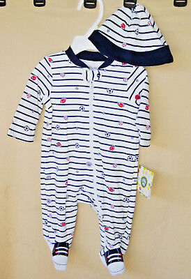 "LITTLE ME 100% Cotton Navy Stripe ""SPORTS STAR"" Footie w/Hat BOY SIZES NWT"