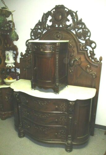 SALE!!! 19TH CENTURY VICTORIAN ROSEWOOD ROCOCO BED DRESSER NIGHTSTAND W/ MARBLE