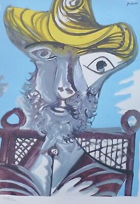 "PABLO PICASSO "" Front of a man "" plate signed HAND NUMBERED LITHOGRAPH gouache for sale  San Diego"