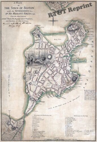 Historical Wall Art / Photograph 1775 Map of the Town of Boston 13x19