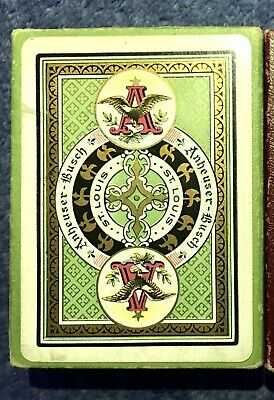 Rare Green Anheuser-Busch Spanish American War Playing Cards 1898s