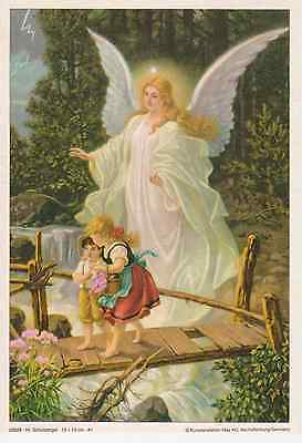 2 St. Schutzengelbild Kinder auf Brücke A/5 Engel Bild Rahmenbild Bilddruck neu