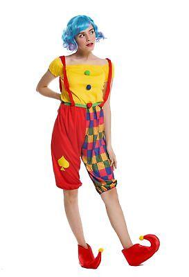 Kostüm Damen Frauen schmale Herren Karneval Clown Harlekin Narr M/L W-0232