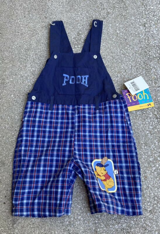 Vintage 90s Toddlers Disney Pooh Spell Out Plaid Overall Shorts Size 4T NWT