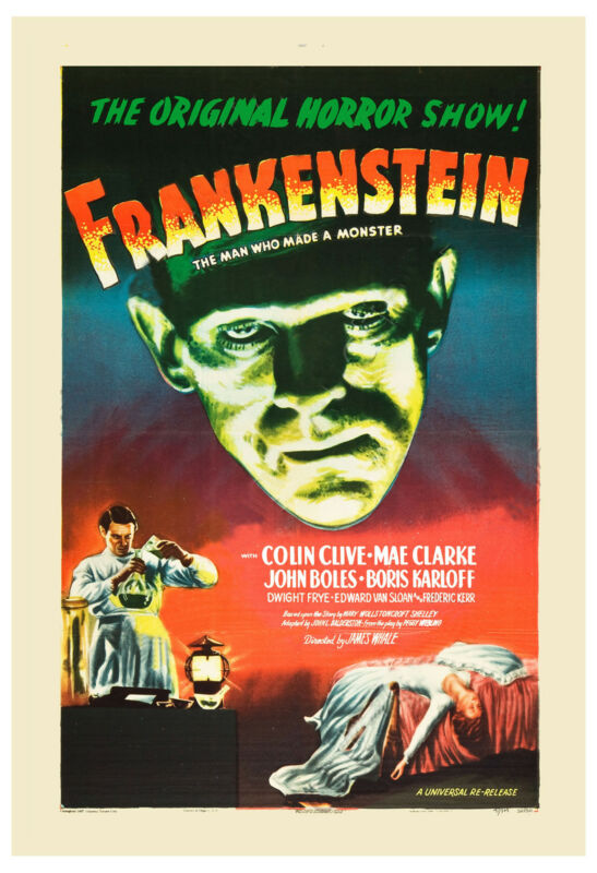Frankenstein *  Classic Horror Movie Poster re-release 1947 Large Format 24x36