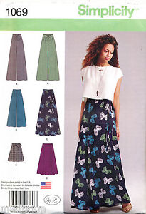 SIMPLICITY SEWING PATTERN 1069 MISSES 12-20 WRAP SKIRT, WIDE LEG PANTS/CULOTTES