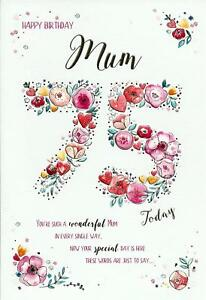 Beautiful Greeting Card For A Wonderful Mum On Your 75th Birthday